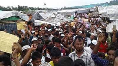 সু চির বিচারের দাবিতে কক্সবাজার রোহিঙ্গা ক্যাম্পে ব্যাপক বিক্ষোভ