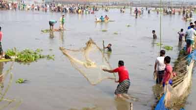 শুক নদীতে মাছ ধরা উৎসব