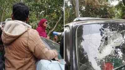 বিএনপি প্রার্থী হাসিনা আহমদের গাড়িতে গুলি শতাধিক আহত