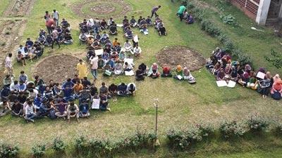 চতুর্থ দিনেও রাবিতে শিক্ষার্থীদের অবস্থান কর্মসূচি