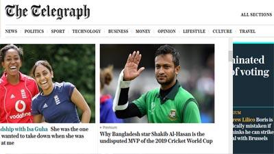 সাকিব অবিসংবাদিত সেরা খেলোয়াড়: দ্য টেলিগ্রাফ