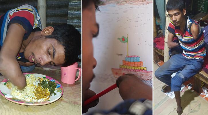 হাত-পা নেই, তবুও রং পেনসিলে স্বপ্ন দেখে রাসেল