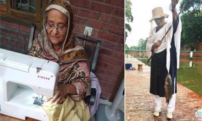 সেলাই করছেন-মাছ ধরছেন প্রধানমন্ত্রী, ছবি ভাইরাল