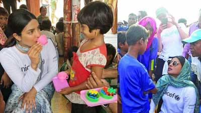 গল্প-খুনসুটিতে রোহিঙ্গা শিবিরে প্রিয়াঙ্কা