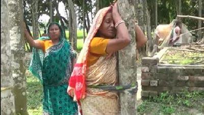 হিন্দু নারীকে গাছে বেঁধে লাঞ্ছিত করে জমি দখল! (ভিডিও)